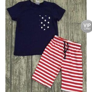 Other - Patriotic Boys 2pc Boys Out fit Stars Stripes